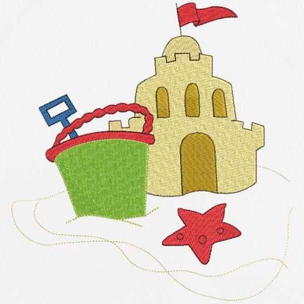 Motif de broderie machine spécial vacances d'un château de sable avec un seau et une pelle