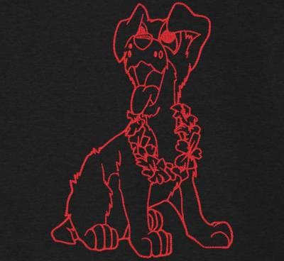 Motif de broderie machine redwork d'un chien trop fun avec son collier de fleurs de tiare