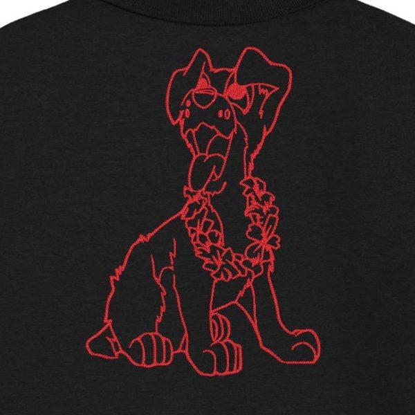Motif de broderie machine redwork d'un chien trop fun avec son collier de fleurs