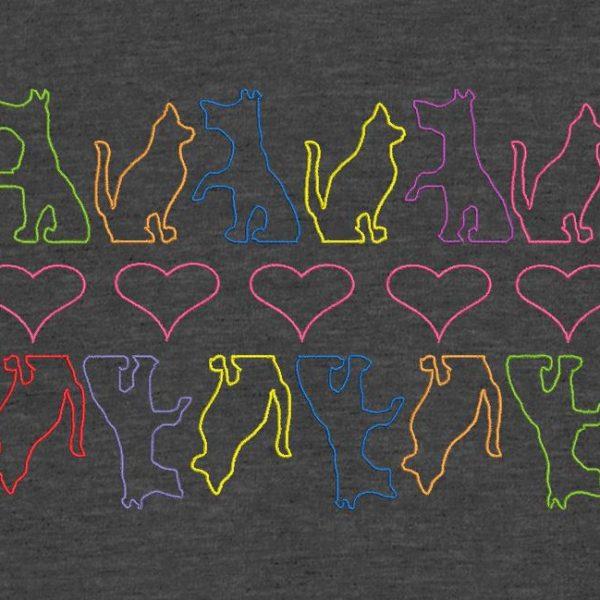 Motif pour la broderie à la machine chiens chats et cœurs