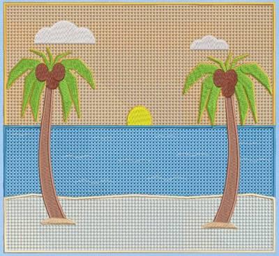 Motif de broderie machine de deux majestueux cocotiers sur la plage et couché de soleil