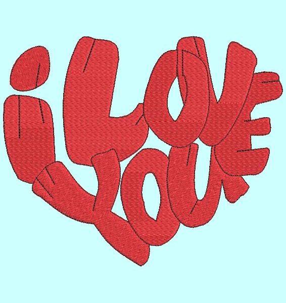 cœur I love you motif de broderie machine