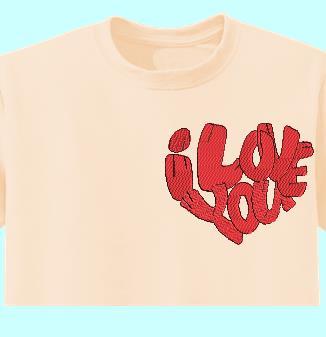 cœur I love you motif de broderie machine d'une écriture je t'aime en forme de cœur