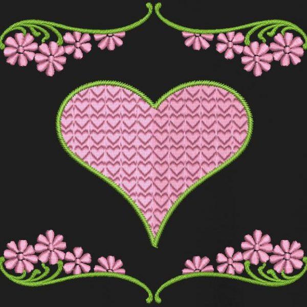 cœurs et fleurs motif de broderie machine