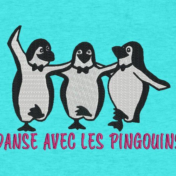 danse avec les pingouins motif de broderie machine rigolos et drôles