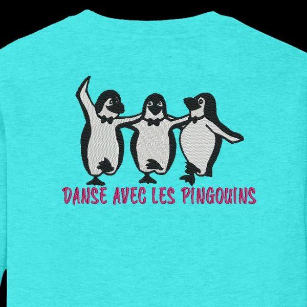 danse avec les pingouins motif de broderie machine