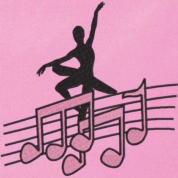 motif de broderie machine danseuse et notes de musique roses