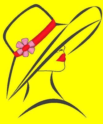 motif de broderie machine d'une femme élégante avec un chapeau