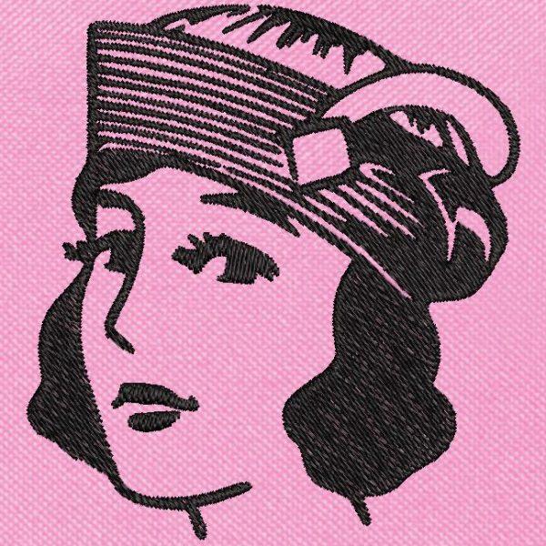 fille vintage avec un chapeau motif de broderie machine gratuite