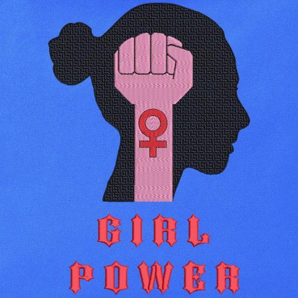 """Motif pour broderie à la machine d'un poing fermé levé vers le ciel . Une silhouette de femme et les écritures """"girl power """"."""