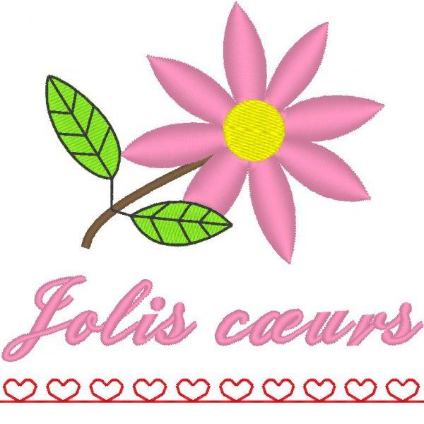motif de broderie machine de jolis cœurs avec une fleur
