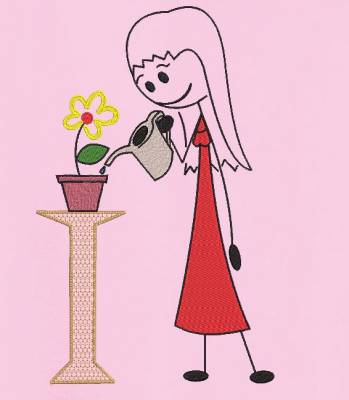 motif de broderie machine la fille à l'arrosoir et une fleur