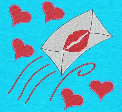 Motif de broderie machine d'une lettre d'amour