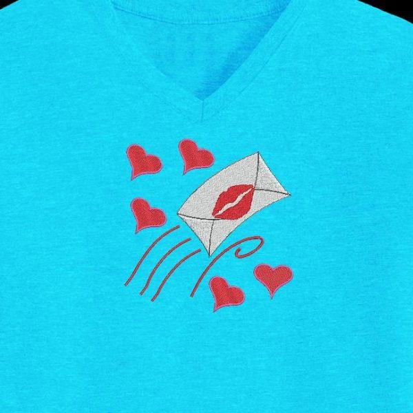 Motif de broderie machine d'une lettre d'amour de la saint valentin