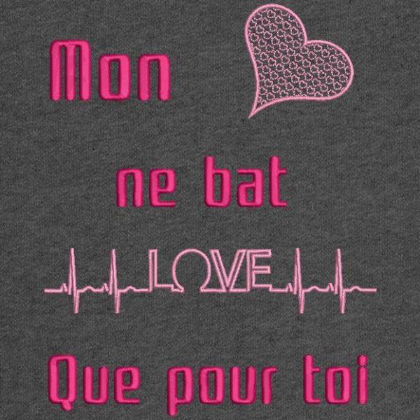 Motif de broderie machine love électro cardiogramme pour la saint valentin