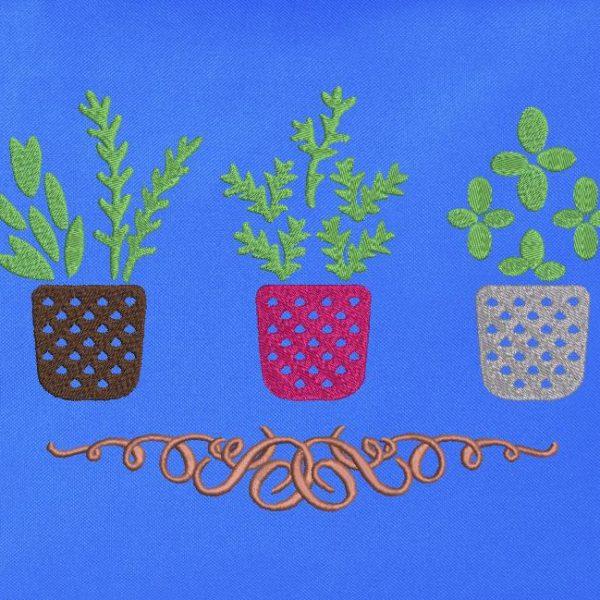 mes herbes aromatiques motif de broderie machine de pots et plantes aromatiques spécial tote bag