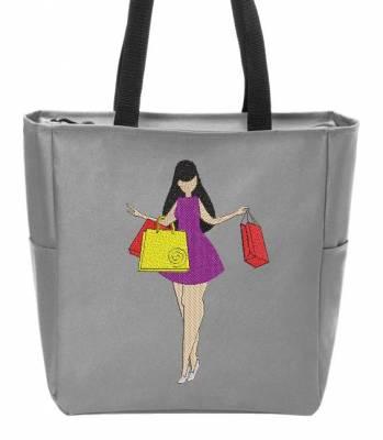 miss shopping motif de broderie machine d'une femme contente de faire son shopping