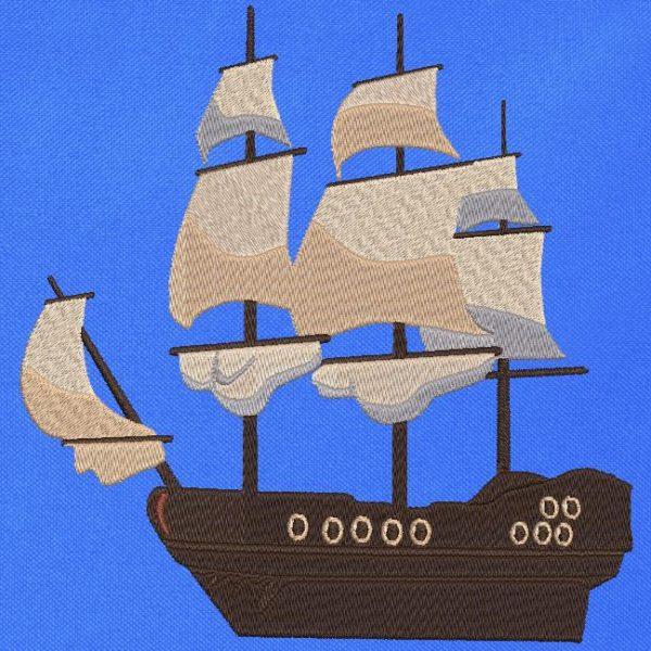 navire ancien classique motif pour machine à broder