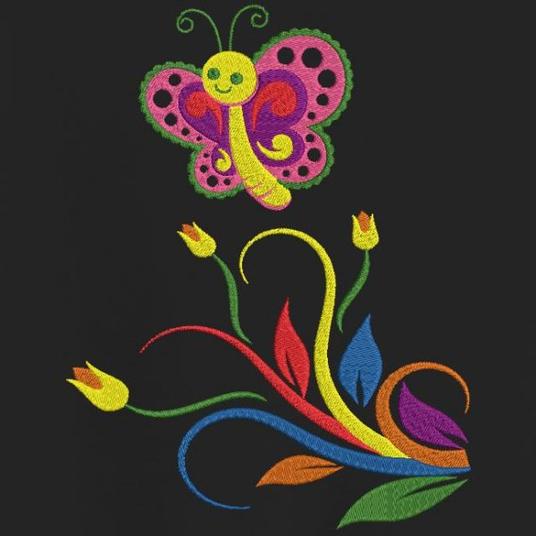 papillon et fleurs multicolores motif pour machine à broder