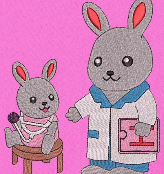motif de broderie machine d'un petit lapin chez le docteur