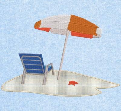 seul sur la plage motif de broderie machine plage et vacances à la mer