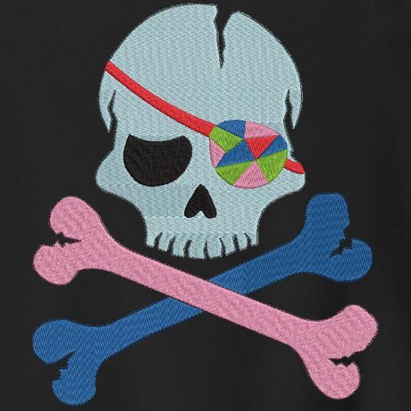 tête de mort pirate avec un cache œil multicolore motif de broderie machine pirate