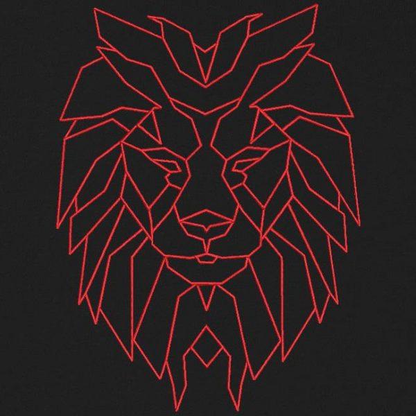 Motif de broderie machine tête de lion géométrique redwork spécial tee shirt