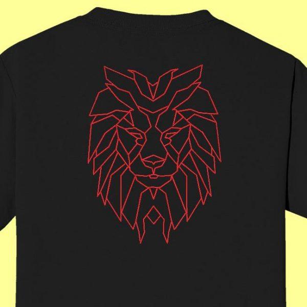 Motif de broderie machine tête de lion géométrique redwork