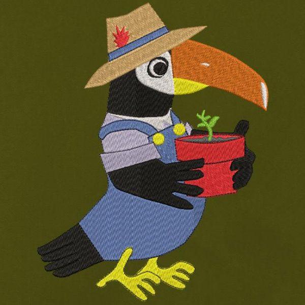 toucan jardinier motif de broderie machine spécial oiseaux rigolos