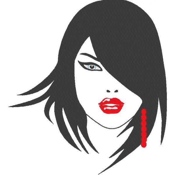 visage femme 1 motif de broderie machine