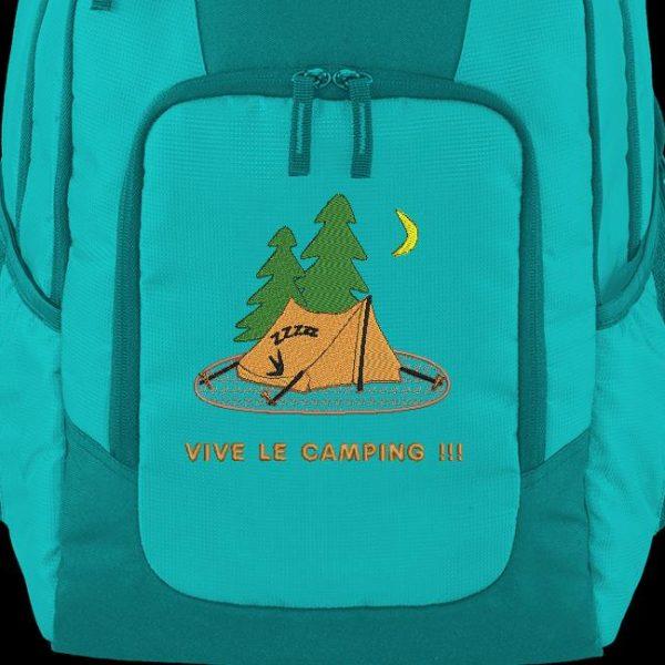 """Motif de broderie machine """"vive le camping """" qui représente une tente"""
