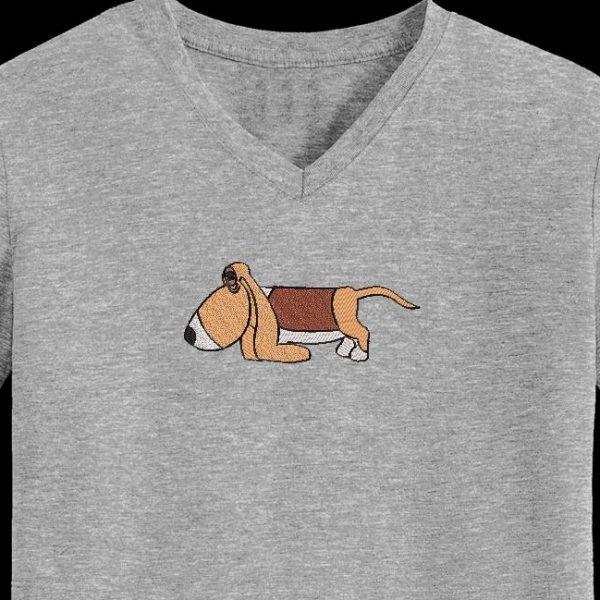 Motif de broderie machine d'un chien rigolo de la race basset hound
