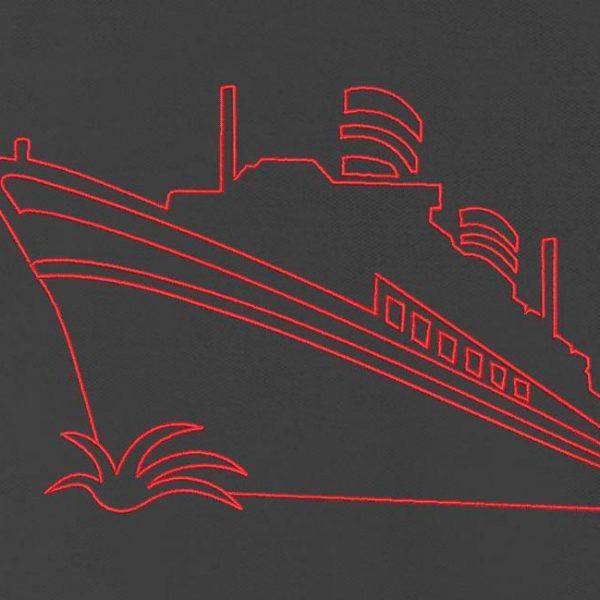 Motif de broderie machine d'un bateau de croisière redwork.