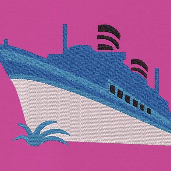 Motif de broderie machine d'un bateau de croisière bleu et blanc
