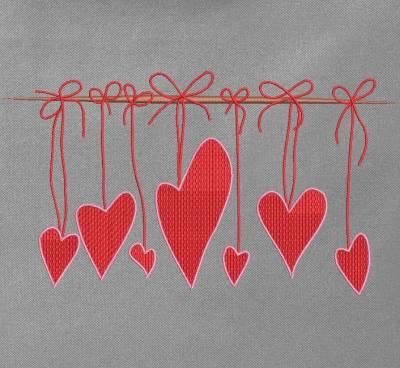 motif pour machine à broder cœurs suspendus