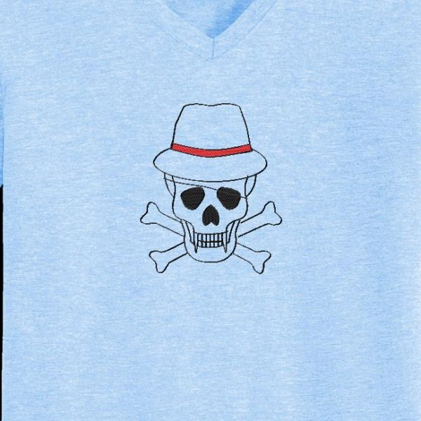 Motif de broderie machine d'un crâne avec un chapeau 2 et un cache œil