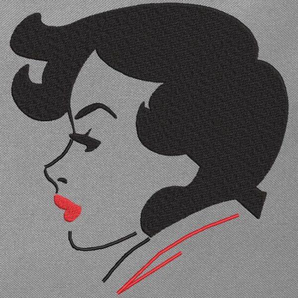 motif de broderie machine d'une jolie femme de profil