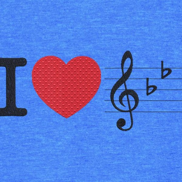 Motif de broderie machine j'aime la musique