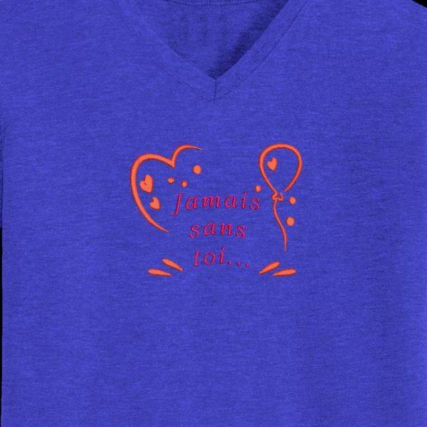 """Motif de broderie machine """"jamais sans toi"""" qui représente des cœurs et un ballon avec un texte d'amour"""