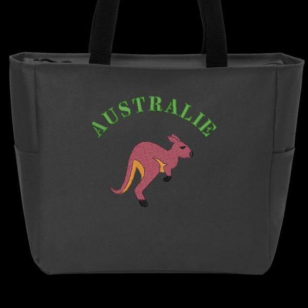Motif de broderie machine d'un kangourou avec le texte Australie