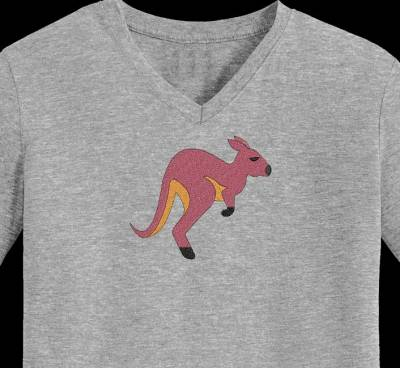 Motif de broderie machine d'un kangourou qui saute
