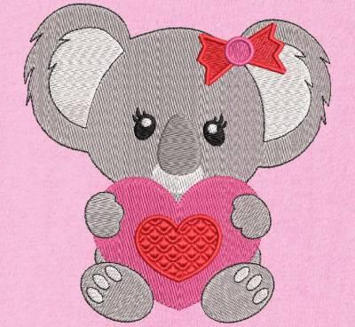 motif de broderie machine d'un koala avec un cœur rouge et rose