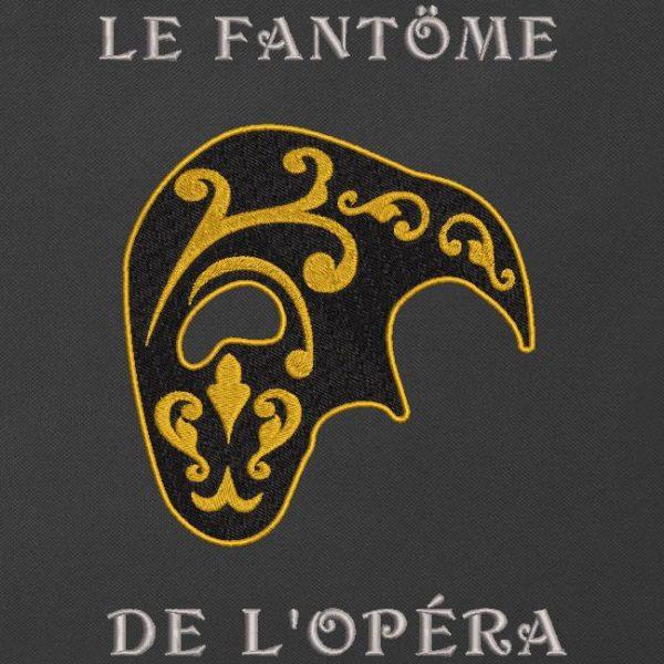 Motif de broderie machine qui représente le demi masque du fantôme de l 'opéra