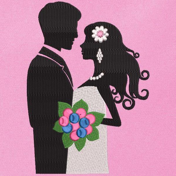 Motif de broderie machine les mariés buste