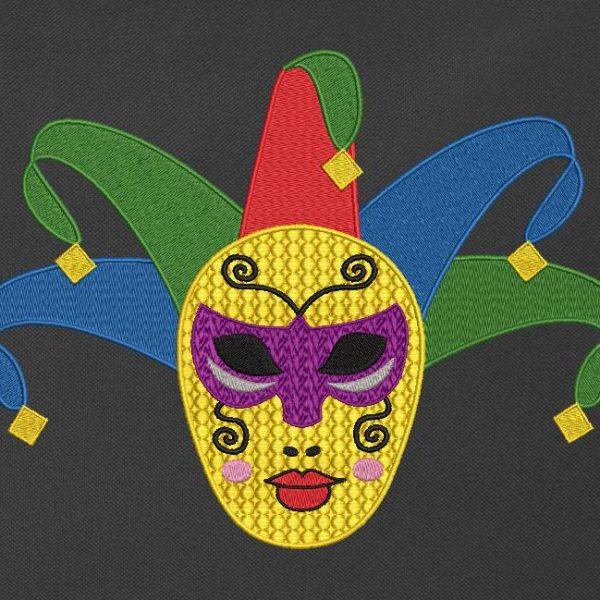 Motif de broderie machine qui représente un personnage de carnaval