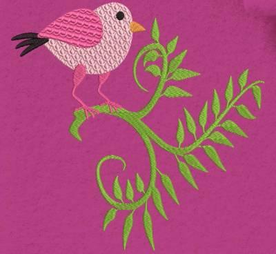Motif de broderie machine d'un petit oiseau rose sur une branche