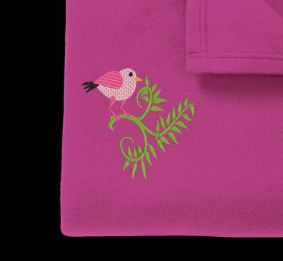 Motif de broderie machine d'un petit oiseau rose
