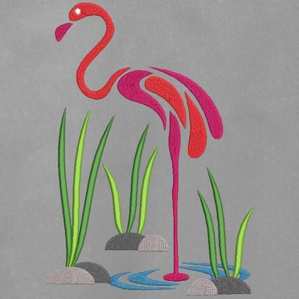motif de broderie machine d'une silhouette de flamant rose