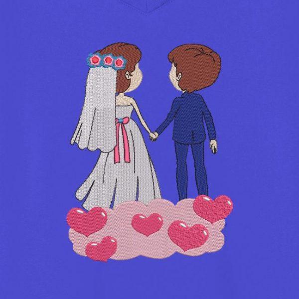 """Motif de broderie machine """"sur un petit nuage"""" qui représente un couple"""