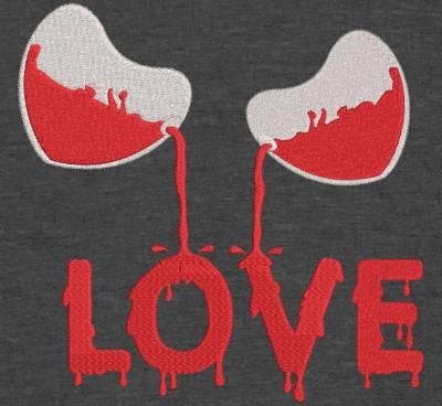 Motif de broderie machine saint valentin verres love